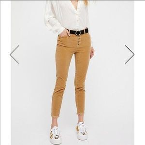 Free People Reagan Raw-Hem Cord Cropped Jeans